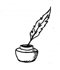 Zeichnung Tintenfass mit Feder