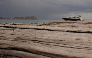 Holzsteg, im Hintergrund die See
